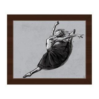 Ballet Jete Gray Framed Canvas Wall Art Print