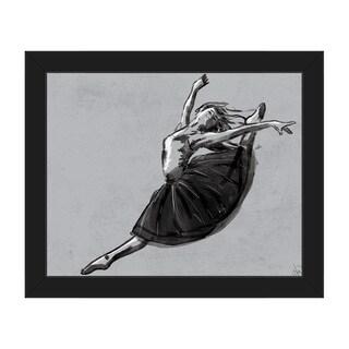 Ballet Jete Grey Canvas Framed Wall Art