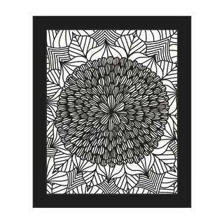 Flower Black on White Framed Canvas Wall Art Print