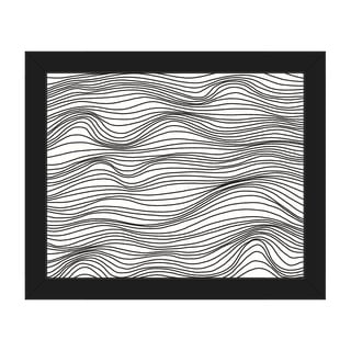 'Wavelines' Horizontal Black and White Framed Canvas Wall Art