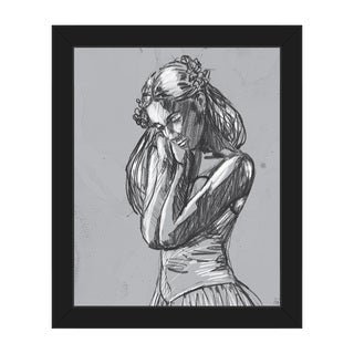 'Dancer Sketch on Grey' Canvas Framed Wall Art Print