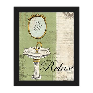 'Relax' on Green Framed Canvas Wall Art Print