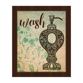 'Wash Emerald' Canvas Floral Framed Wall Art Print