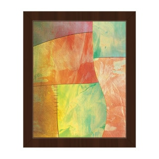 'Amber Chartreuse Patchwork' Canvas Framed Wall Art