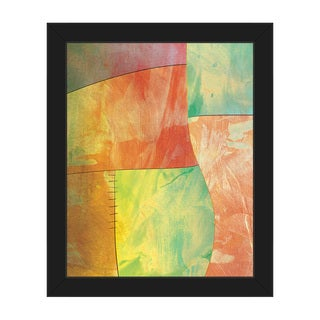 'Amber Chartreuse Patchwork' Framed Canvas Wall Art