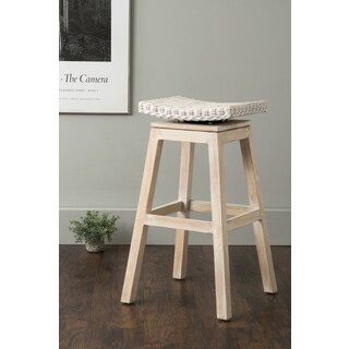 East At Main's Danvers Off-White Square Rattan Barstool