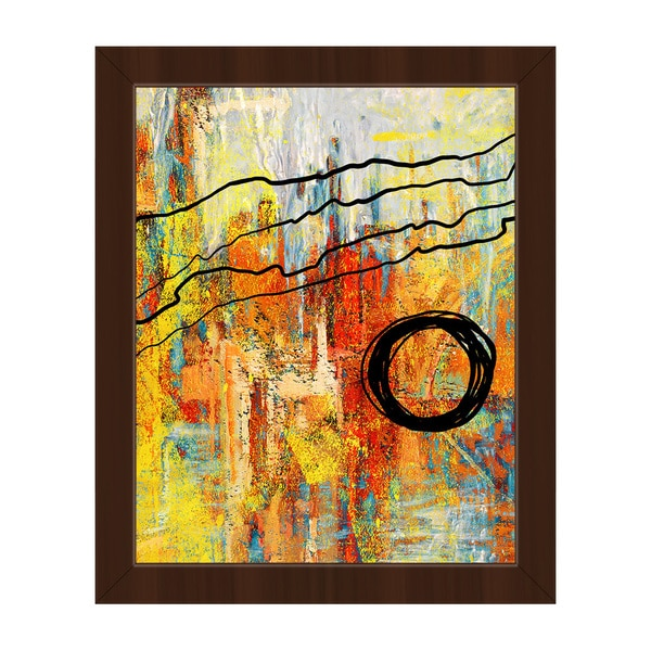 'Harmonious Orange Crisis' Framed Canvas Wall Art