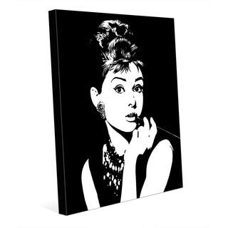 Audrey Hepburn White on Black Wall Art on Canvas