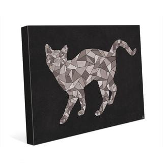'Crystal Cat on Black' Canvas Wall Art Print