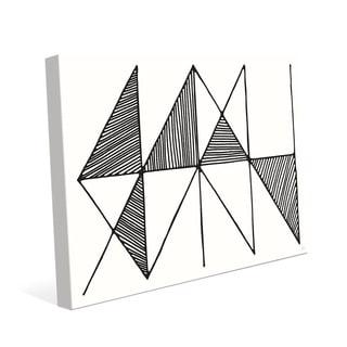 'Crosshatch' Horizontal Black and White Wall Art Print on Canvas