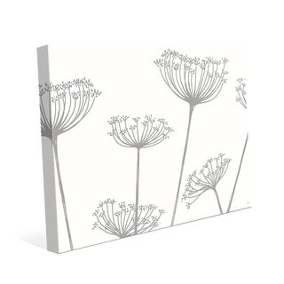 Meadow Flowers Grey on White Canvas Wall Art