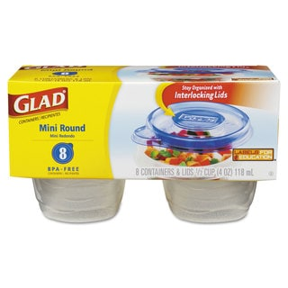 Glad GladWare Mini Round Food Storage Containers 4 oz 8/Pack 12 Pack/Carton