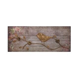 Metallic Bird Wood Wall Decor