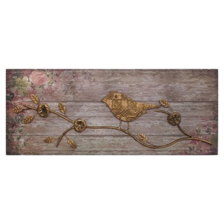 Metallic Bird Wood Wall Decor