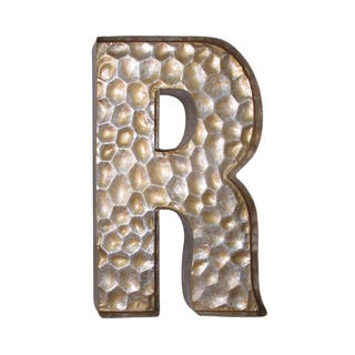 Jeco Honeycomb Gold Tone Metal Patterned Letter