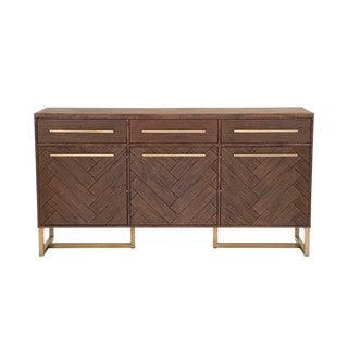 Laurel Brushed Gold and Rustic Java Medium Dining Sideboard