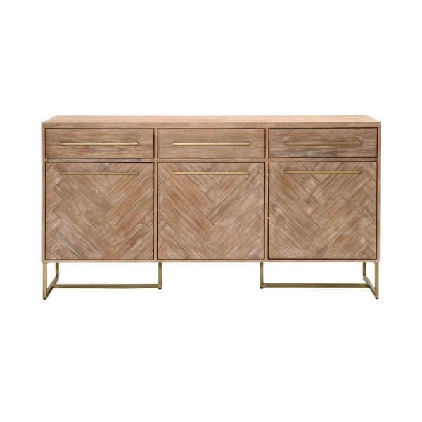 Laurel Stone Wash Herringbone Acacia Dining Sideboard