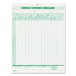 TOPS Weekly Expense Envelope 8 1/2 x 11 20 Forms