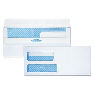 Quality Park Redi-Seal Envelope Security #9 Double Window Contemporary White 250/Carton