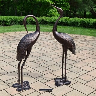 Oakland Living Corporation Twain Antique Bronze Tall Standing Whooping Cranes