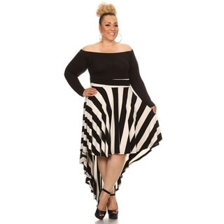 Black/White Plus Style Long-sleeve Pleated Midi Dress
