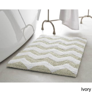 Jean Pierre Reversible Cotton Zigzag 21 x 34 in. Bath Mat (Option: Ivory)