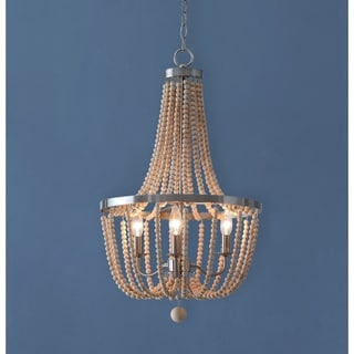 Mindy 3 Light Wood Bead Chandelier - Brushed Steel