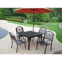 6 Pc Dining Set with Square Table, 4 Chairs, Umbrella and Base