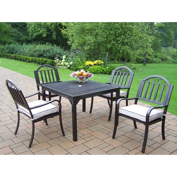 Hometown Square Cushioned Iron 5-piece Patio Dining Set