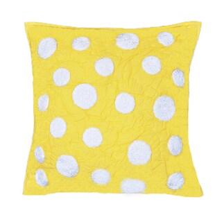 Iman Yellow Cotton Throw Pillow