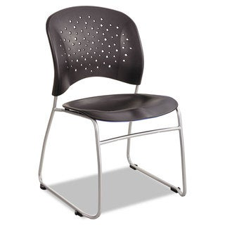 Safco Reve Series Guest Chair With Sled Base Black Plastic Silver Steel 2/Carton