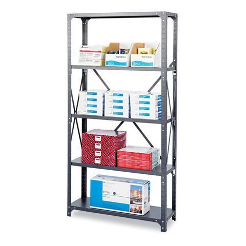 Commercial Shelving Unit Five-Shelf 36-in w x 12-in d x 75h Dark Grey
