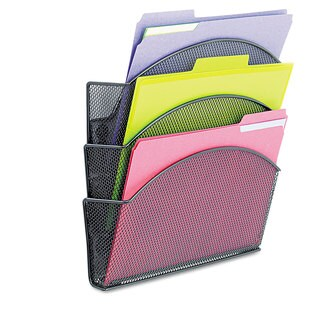Safco Onyx Magnetic Mesh Panel Accessories 3 File Pocket 13 x 4 1/3 x 13 1/2. Black