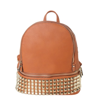 Diophy Synthetic Leather Gold-studded Double-compartment Medium Backpack