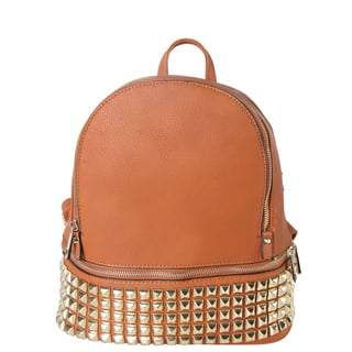 Diophy Synthetic Leather Gold-studded Double-compartment Medium Backpack|https://ak1.ostkcdn.com/images/products/13995645/P20619285.jpg?impolicy=medium