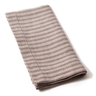 Cottage Home Bernadette Brown Walnut Striped Linen Napkin (Set of 4)