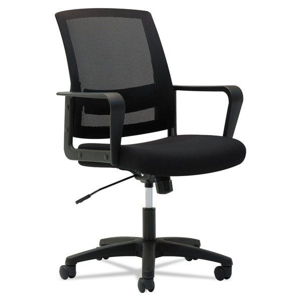 OIF Mesh Mid-Back Chair Fixed Loop Arms Black