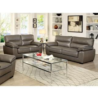 Furniture of America Scottie Contemporary Grey Leatherette Living Room Sofa Set