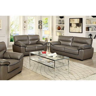Furniture of America Scottie Contemporary Grey Leatherette Living Room Sofa Set