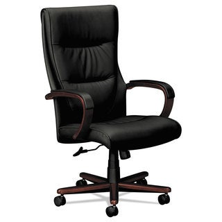 basyx VL844 Series High-Back Swivel/Tilt Chair Black Leather/Mahogany