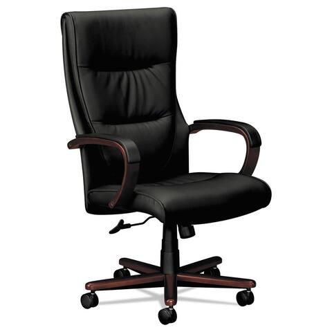 HON VL844 Series High-Back Swivel/Tilt Chair Black Leather/Mahogany