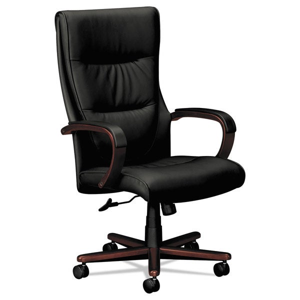 HON VL844 Series High-Back Swivel/Tilt Chair Black Leather/Mahogany