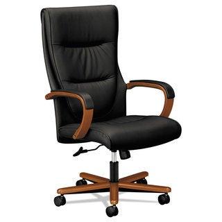 basyx VL844 Series High-Back Swivel/Tilt Chair Black Leather/Bourbon Cherry