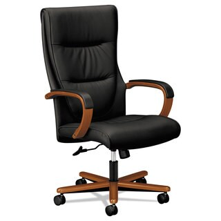 basyx VL844 Series High-Back Swivel/Tilt Chair Black Leather/Bourbon Cherry