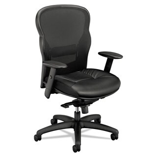 basyx VL701 Series High-Back Swivel/Tilt Work Chair Black Mesh/Leather