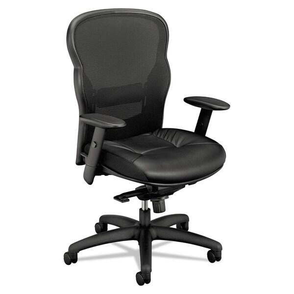 HON VL701 Series High-Back Swivel/Tilt Work Chair, Black Mesh/Leather