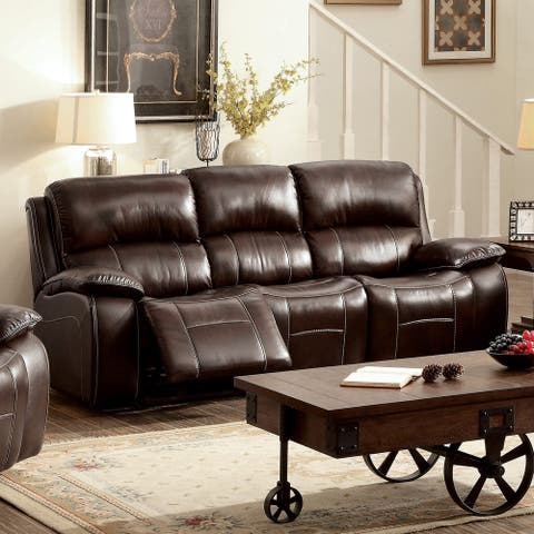 Furniture of America Heln Transitional Brown Padded Reclining Sofa