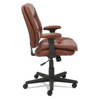 OIF Swivel/Tilt Leather Task Chair Fixed T-Bar Arms Chestnut Brown