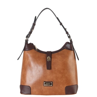 Diophy Faux Leather Front Turn Lock 2-tone Hobo Handbag