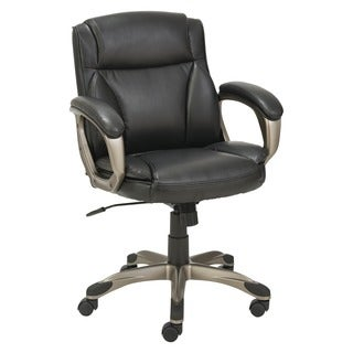 Alera Veon Series Low-Back Leather Task Chair with Coil Spring Cushioning Black